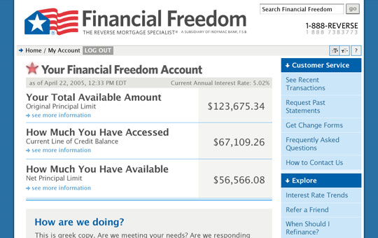 Financial Freedom My Account Page